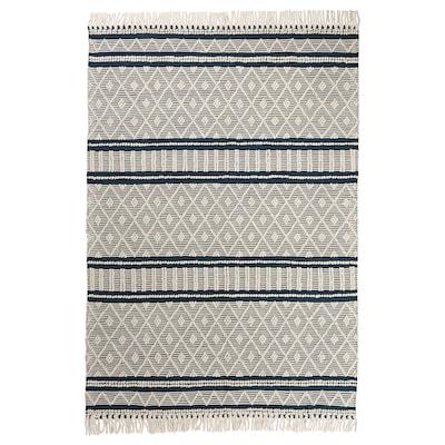 KRAGHAVE Rug, flatwoven, handmade off-white/dark blue, 170x240 cm