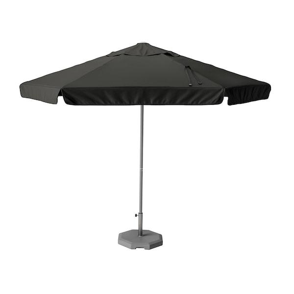 KUGGÖ / VÅRHOLMEN Parasol with base, grey dark grey/Huvön dark grey, 300 cm