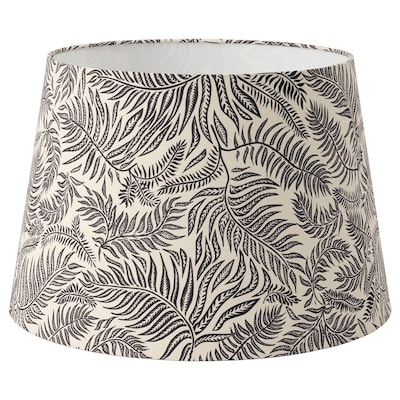 LÅGVIND Lamp shade, black leaves/beige, 44 cm