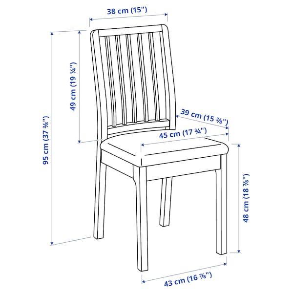 LANEBERG / EKEDALEN Table and 4 chairs, white/white light grey, 130/190x80 cm