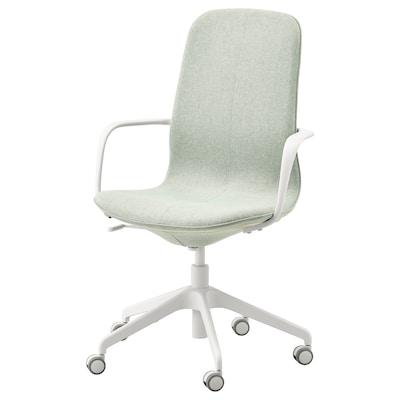 LÅNGFJÄLL office chair with armrests Gunnared light green/white 110 kg 68 cm 68 cm 104 cm 53 cm 41 cm 43 cm 53 cm