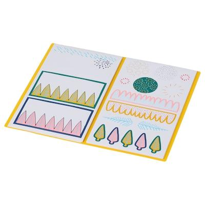 LANKMOJ folder with stickers white blue/pink 10.5 cm 18.0 cm