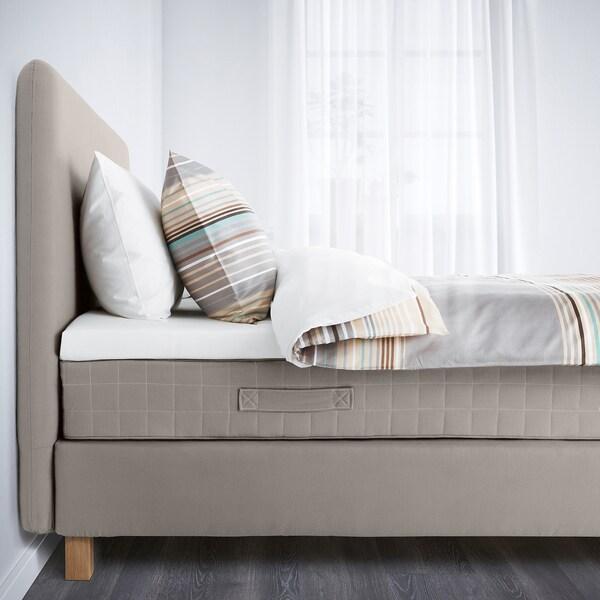 LAUVIK Divan bed, Hamarvik firm/Talgje dark beige, 140x200 cm