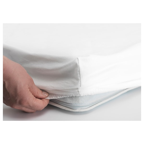LEN Fitted sheet for cot, white, 70x140 cm