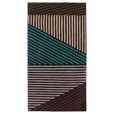 LERBJERG Rug, low pile, black/white/green, 80x150 cm