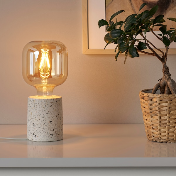 LERSKIFFER / LUNNOM Table lamp with light bulb, terrazzo effect/white