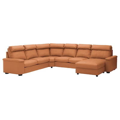 LIDHULT Corner sofa, 6-seat, with chaise longue/Grann/Bomstad golden-brown