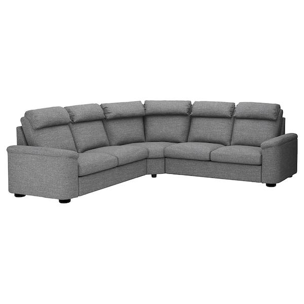 Corner sofa-bed, 5-seat LIDHULT Lejde grey/black