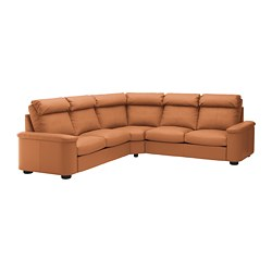 LIDHULT corner sofa, 5-seat, Grann/Bomstad golden-brown