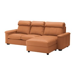 LIDHULT 3-seat sofa, with chaise longue, Grann/Bomstad golden-brown