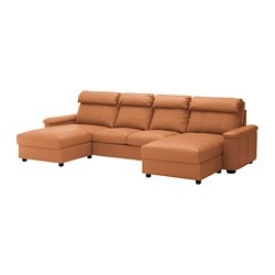 LIDHULT 4-seat sofa, with chaise longues, Grann/Bomstad golden-brown