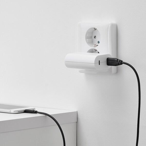 LILLHULT USB type A to lightning cord, dark grey, 1.5 m