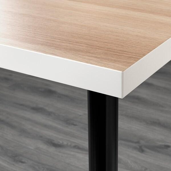 LINNMON / ADILS Table, white white stained oak effect/black, 120x60 cm