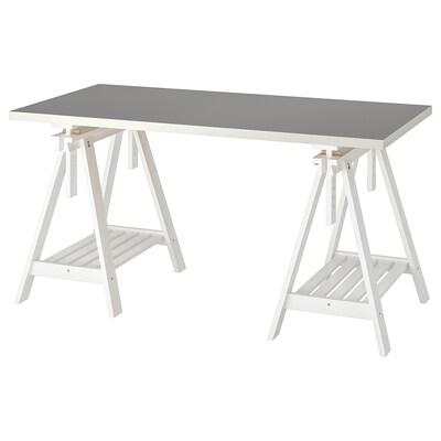LINNMON / FINNVARD Table, light grey/white, 150x75 cm