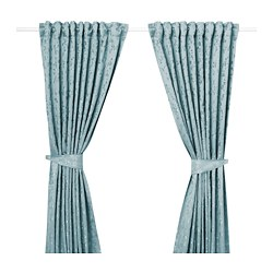 LISABRITT curtains with tie-backs, 1 pair, blue