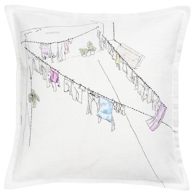LOKALT Cushion cover, white pink/handmade, 50x50 cm