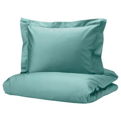 LUKTJASMIN Duvet cover and pillowcase, grey-turquoise, 150x200/50x60 cm