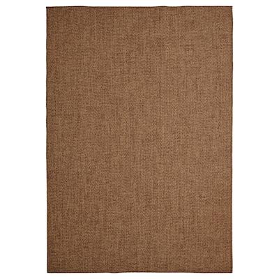 LYDERSHOLM Rug flatwoven, in/outdoor, medium brown, 133x195 cm