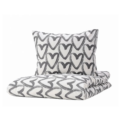 LYKTFIBBLA Duvet cover and 2 pillowcases, white/grey, 240x220/50x60 cm