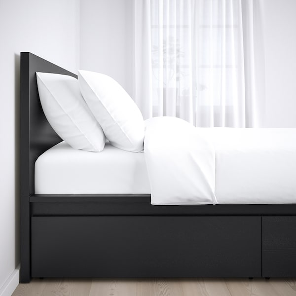 MALM Bed frame, high, w 2 storage boxes, black-brown/Leirsund, 180x200 cm