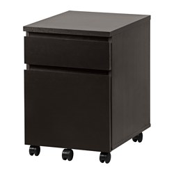 MALM drawer unit on castors, black-brown