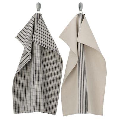 MARIATHERES Tea towel, square stripe/grey beige, 50x70 cm