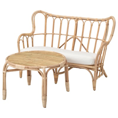 MASTHOLMEN 2-seat conversation set, outdoor rattan