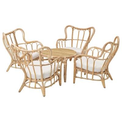 MASTHOLMEN 4-seat conversation set, outdoor rattan