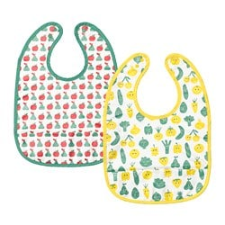 MATVRÅ bib, fruit/vegetables pattern, green yellow
