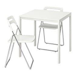 MELLTORP /  NISSE Table and 2 folding chairs