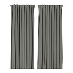 MERETE room darkening curtains, 1 pair, grey