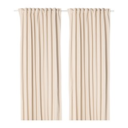 MERETE room darkening curtains, 1 pair, beige