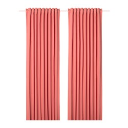 MERETE room darkening curtains, 1 pair, light brown-red