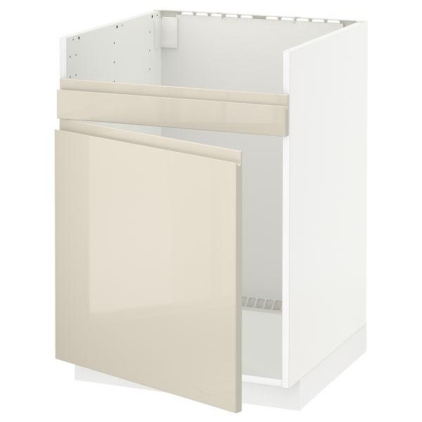 METOD Base cab f HAVSEN single bowl sink, white/Voxtorp high-gloss light beige, 60x60 cm