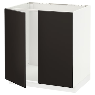 METOD Base cabinet for sink + 2 doors, white/Kungsbacka anthracite, 80x60 cm