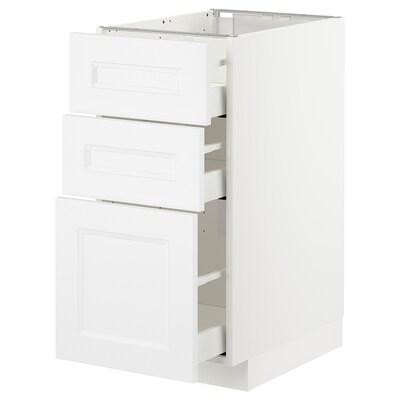 METOD Base cabinet with 3 drawers, white/Axstad matt white, 40x60 cm