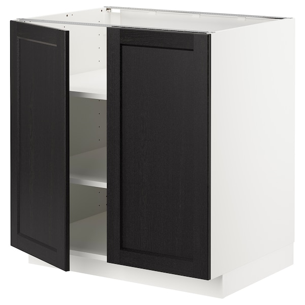 METOD Base cabinet with shelves/2 doors, white/Lerhyttan black stained, 80x60 cm
