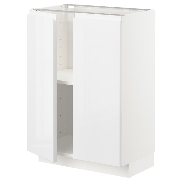 METOD Base cabinet with shelves/2 doors, white/Voxtorp high-gloss/white, 60x37 cm