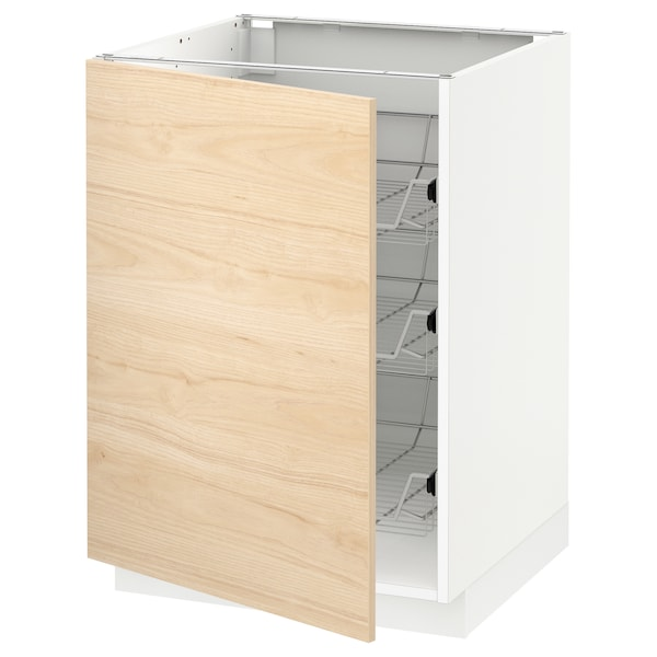 METOD Base cabinet with wire baskets, white/Askersund light ash effect, 60x60 cm