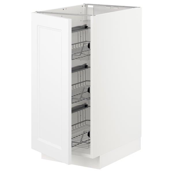 METOD Base cabinet with wire baskets, white/Axstad matt white, 40x60 cm