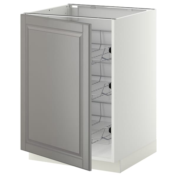 METOD Base cabinet with wire baskets, white/Bodbyn grey, 60x60 cm
