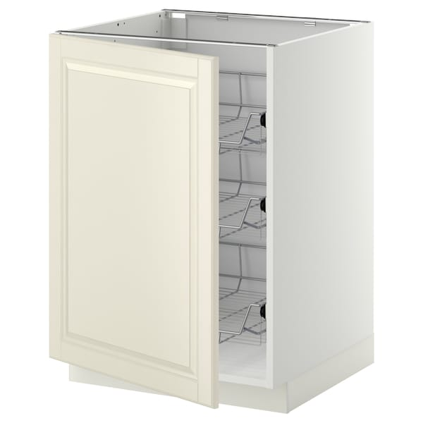 METOD Base cabinet with wire baskets, white/Bodbyn off-white, 60x60 cm