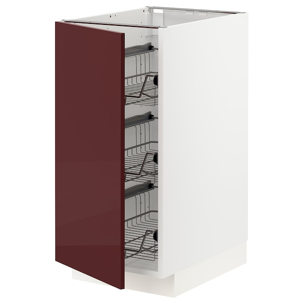 METOD Base cabinet with wire baskets, white Kallarp/high-gloss dark red-brown, 40x60 cm