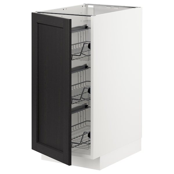 METOD Base cabinet with wire baskets, white/Lerhyttan black stained, 40x60 cm