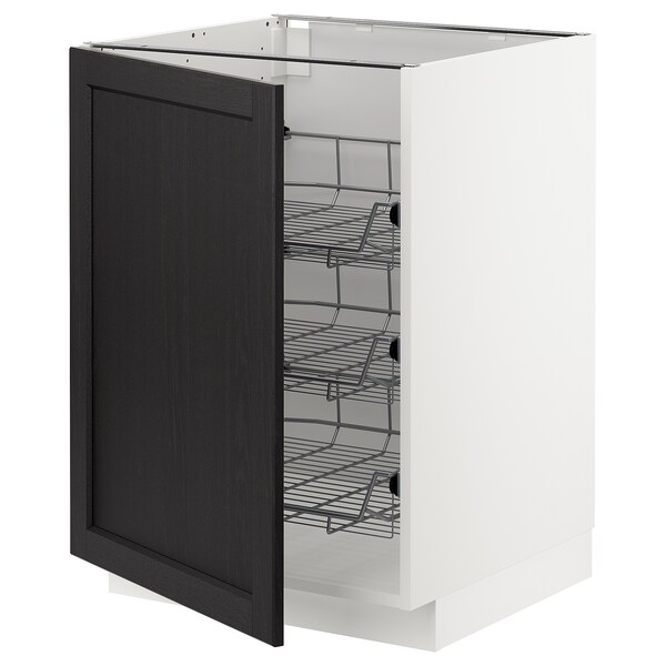 METOD Base cabinet with wire baskets, white/Lerhyttan black stained, 60x60 cm