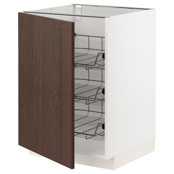 METOD Base cabinet with wire baskets, white/Sinarp brown, 60x60 cm