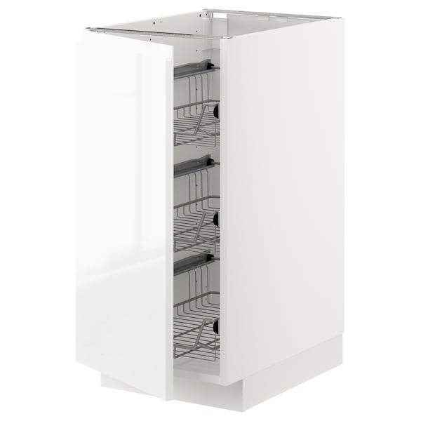 METOD Base cabinet with wire baskets, white/Voxtorp high-gloss/white, 40x60 cm