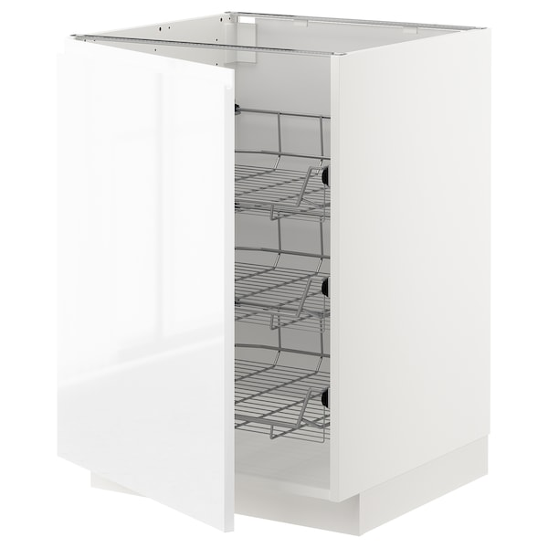 METOD Base cabinet with wire baskets, white/Voxtorp high-gloss/white, 60x60 cm