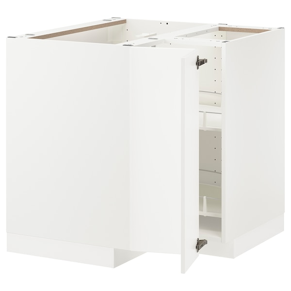 METOD Corner base cabinet with carousel, white/Axstad matt white, 88x88 cm