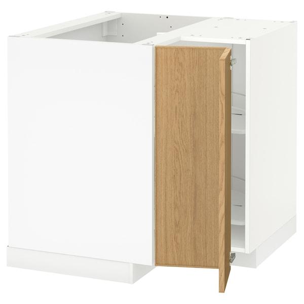 METOD Corner base cabinet with carousel, white/Ekestad oak, 88x88 cm